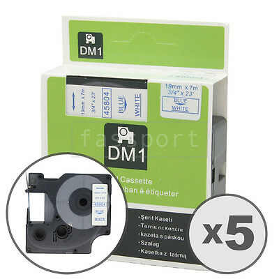 """5pk Blue on White Tape Label Compatible for DYMO 45804 D1 19mm 3/4"""""""