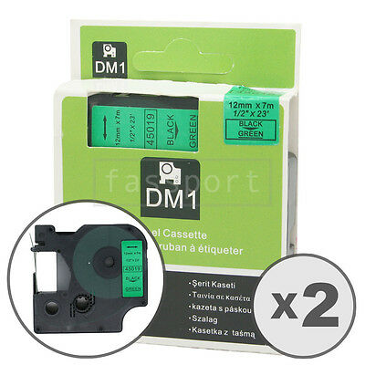 2pk Black on Green Tape Label Compatible for DYMO 45019 D1 12mm 1/2""