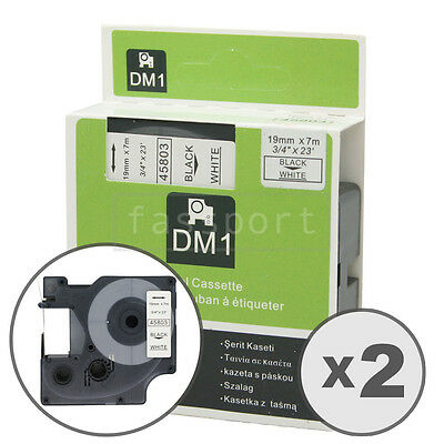 2pk Black on White Tape Label Compatible for DYMO 45803 D1 19mm 3/4""