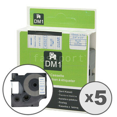 """5pk Blue on Clear Tape Label Compatible for DYMO 45801 D1 19mm 3/4"""""""