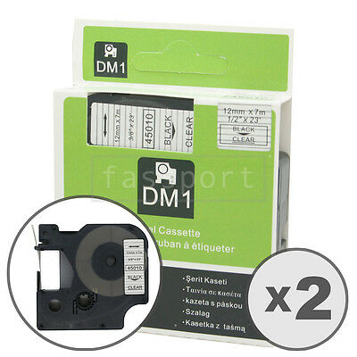 """2pk Black on Clear Tape Label Compatible for DYMO 45010 D1 12mm 1/2"""""""