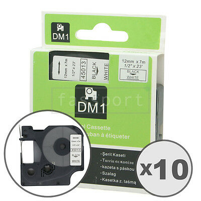 """10pk Black on White Tape Label Compatible for DYMO 45013 D1 12mm 1/2"""""""