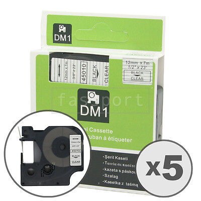 """5pk Black on Clear Tape Label Compatible for DYMO 45010 D1 12mm 1/2"""""""