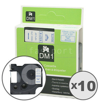 """10pk Blue on White Tape Label Compatible for DYMO 45014 D1 12mm 1/2"""""""