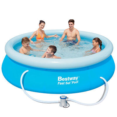 Bestway 10ft Fast Set Swimming Pool + Filter Pump + Weather Cover + Air Pump