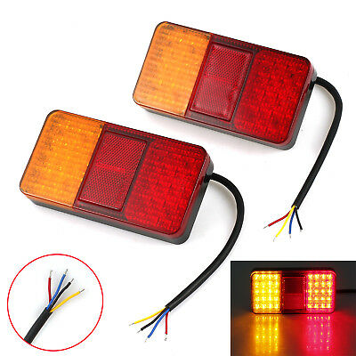 2X 12V 40 LED Lights Rear Stop Tail Brake Indicator Lamp Trailer Van Truck Light