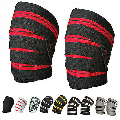 "Power Weight Lifting Knee Wraps bandage Straps 78"" long and 3"" wide Elasticated"