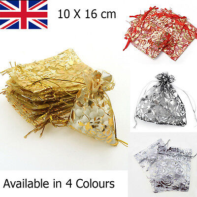 UK NEW Sheer Coralline Organza Jewellery Pouch Wedding Party Gift Bag 10x16cm