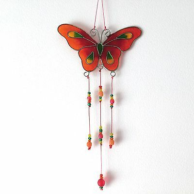 New Orange Red Butterfly Design Sun Catcher Wall Or Window Hanging Mobile Retro