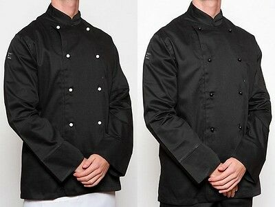 Chef Jacket X 3 - Black - Brand New + 10 FREE BUTTONS
