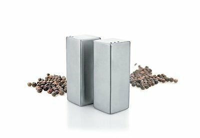 Stainless Steel Square Salt & Pepper Shaker Set Squared Cubed