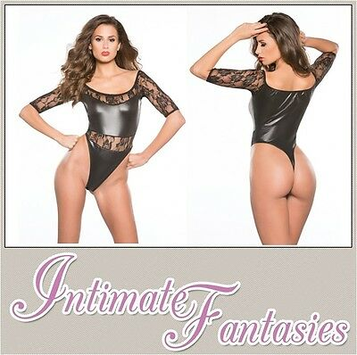 Lace Wet Look Short Sleeve Black Teddy Sexy Dominatrix Play Thong Size 8 10 12