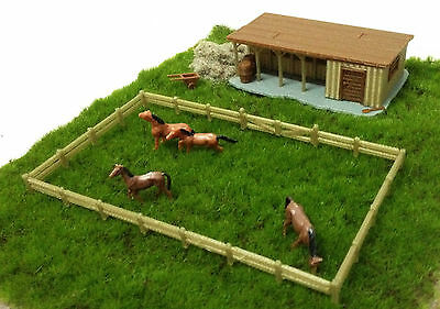 Outland Models Train Railway Layout Farm Stable with Horses & Grass HO OO Scale