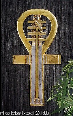 Egyptian Ankh Pharaoh Holds Power Eternal Life Symbol wall decor sculpture gold
