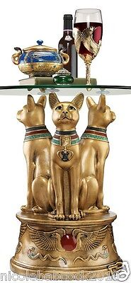 Ancient Egyptian Goddess Feline Cat's Sculptural Trio Accent Table W/ Glass Top
