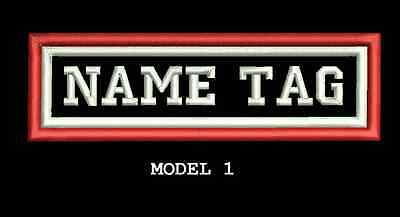 """Custom Embroidered 4""""x1"""" Name Patch Motorcycle Biker  Iron on/sew on two frames"""