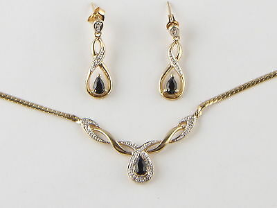 9CARAT 9CT YELLOW GOLD SAPPHIRE & DIAMOND NACKLACE & EARRING SET, 7.5 Grams