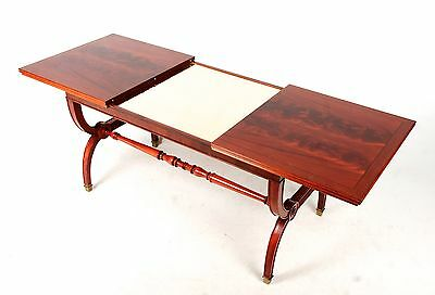 Coffee Table Flamed Mahogany Gold Glass Extending Coffee Table French Polished
