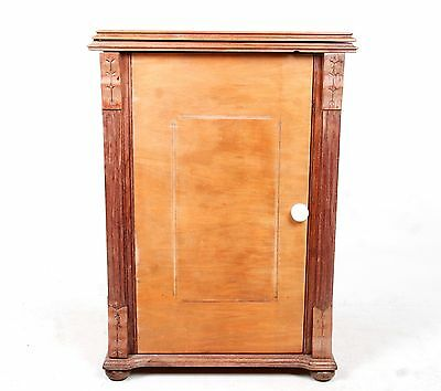 Antique Cupboard Bedside Cabinet Folding Bedside Table 19th Century Stripped Pin