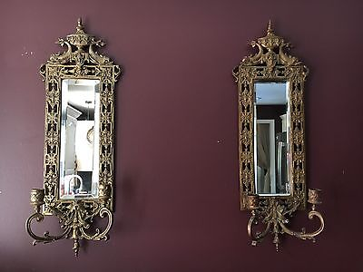 Pair Early 1900's Brass  Double Arm  Beveled Wall Mirror Sconces