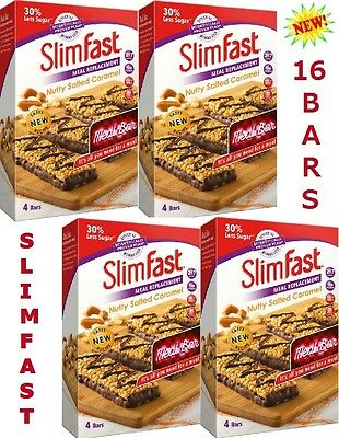 SlimFast Nutty Salted Caramel Bars Meal Replacement Weight Loss Diet 16 x 60g