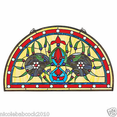 VICTORIAN STYLE HALF MOON DEMI LUNE STAINED GLASS WINDOW PANEL 70 cabochons • CAD $347.63