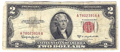 1953 C Us $2 Dollar Red Seal Note A78023816A