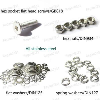 M2 / M2.5 Stainless Flat-head inner hexagon Screw Nut Flat washer Spring washer