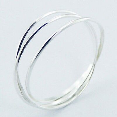 Silver ring interlocked triple 925 sterling delicate band ring size 11us fashion
