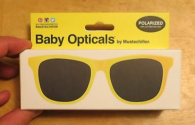 NEW Mustachifier Baby Opticals Polarized Sunglasses - Yellow Ages 0-2 GLSTA25