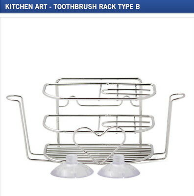 Kitchen Art Toothbrush Rack Type B w/ Suctions Stainless Steel Made in Korea