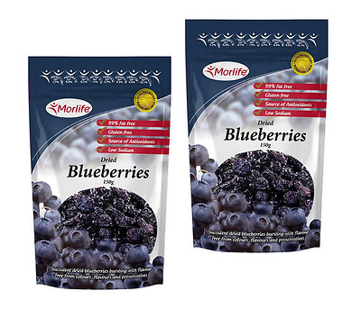 Morlife Dried Blueberries 150g x 2  | Berries | Trail Mixes | Antioxidants