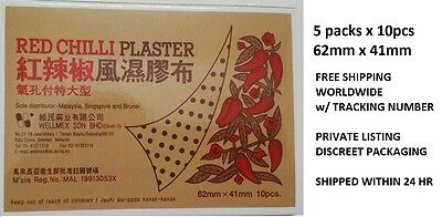 50pcs RED CHILLI CAPSICUM MEDICATED PLASTER-SPRAIN PAIN RELIEF PATCH-NO Salonpas