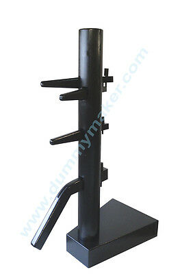 Wing Chun Wooden Dummy Closed Base Black Color With Form