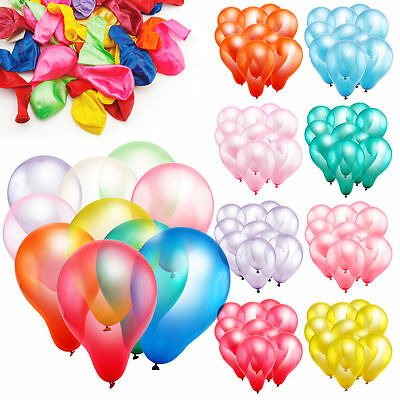 "10"" Latex Metallic Pearlised Quality Party Birthday Wedding Balloons Lots of 100"