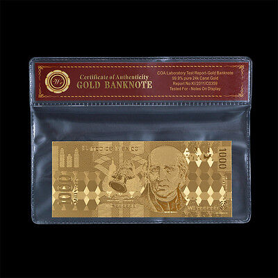 Mexico 1000 Pesos 24k Pure Gold Plated Banknote Collectible Gift Free PVC Sleeve