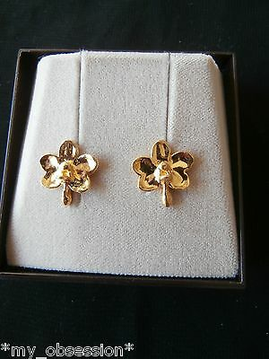 Gold Plated Natural Orchid Flower Earrings - Free Shipping