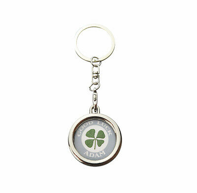 Personalised Lucky Real Four Leaf Clover Good Luck Keyring Certificate