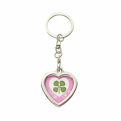 Lucky Real Four Leaf Clover Heart Good Luck Keyring with Certificate
