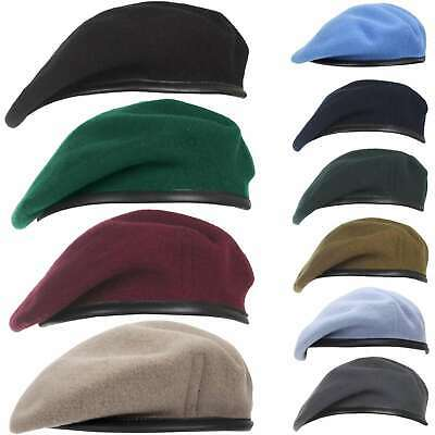 Military Beret 100% Wool Leather Banded Silk Lined Army Cadet Hat Cap 7 Colours