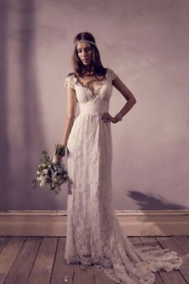 New Lace White/Ivory Beach Wedding Dress Bridal Gown Custom Size 8-10-12-14-16++