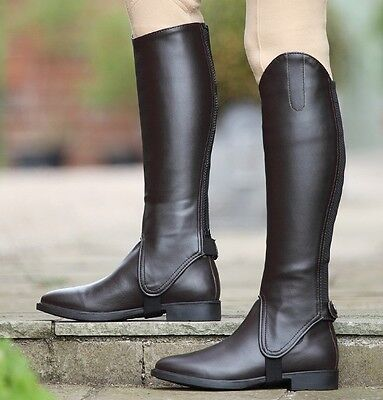 New Shires Adults Synthetic Leather Gaiters / Half Chaps - Brown