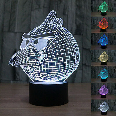 New 3D Angry Birds Night Light 7 Color Change LED Desk Table Light Lamp