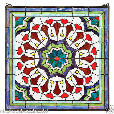 Victorian Floral Tiffany-Style Stained Glass Window Panel