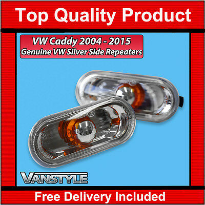 Vw Caddy & Maxi Oem Amber + Clear Side Repeaters Indicators Upgrade Trim (Pair)