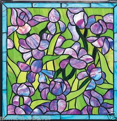 Saint-Remy European Style Garden Iris Stained Glass Window Panel