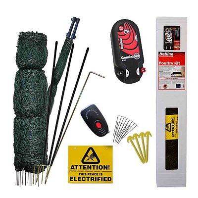 ELECTRIC POULTRY NETTING KIT Energiser Green Chicken 50m Fence Fencing Post Gate