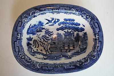 """Antique W.A.A.S. Willow England Blue Willow Oval Vegetable Bowl  7"""" wide"""