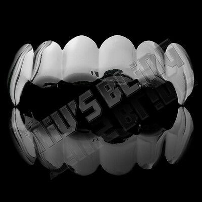 14K White Gold Plated Silver Vampire Fangs Tooth Top GRILLZ Mouth JOKER Teeth