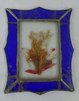 Vintage Blue Stained Glass Hanging Frame Dry Flowers/Plant Decorative Solder Old